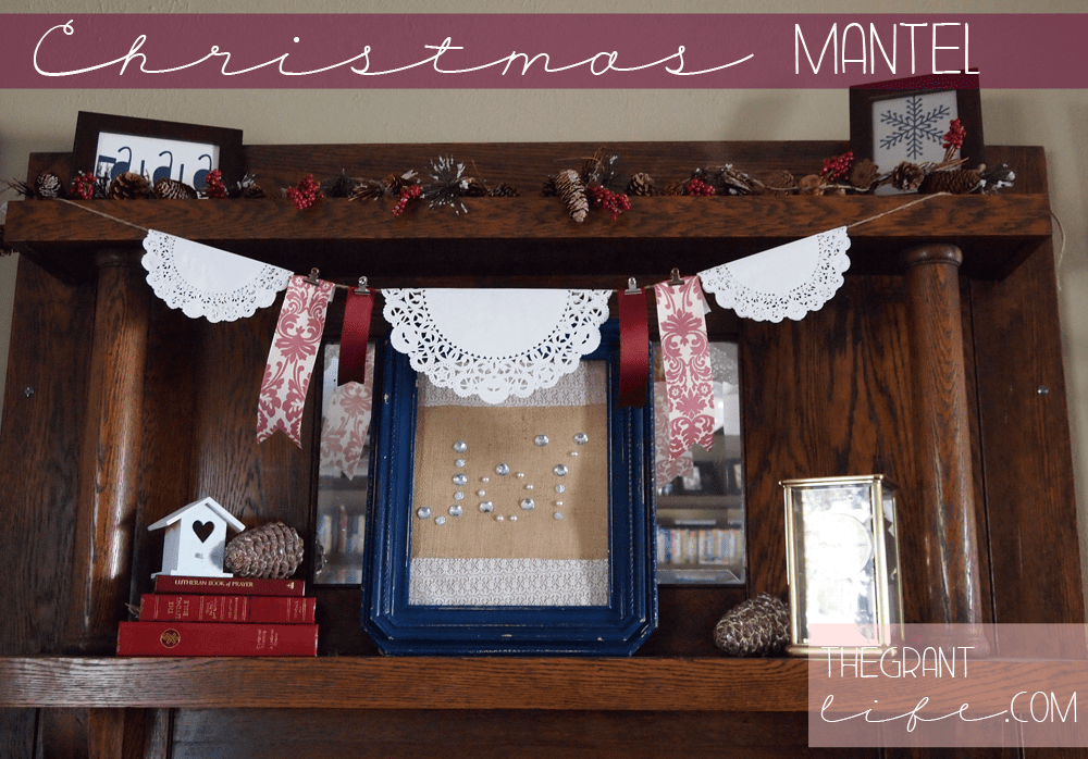 Maroon and Blue Christmas Mantel