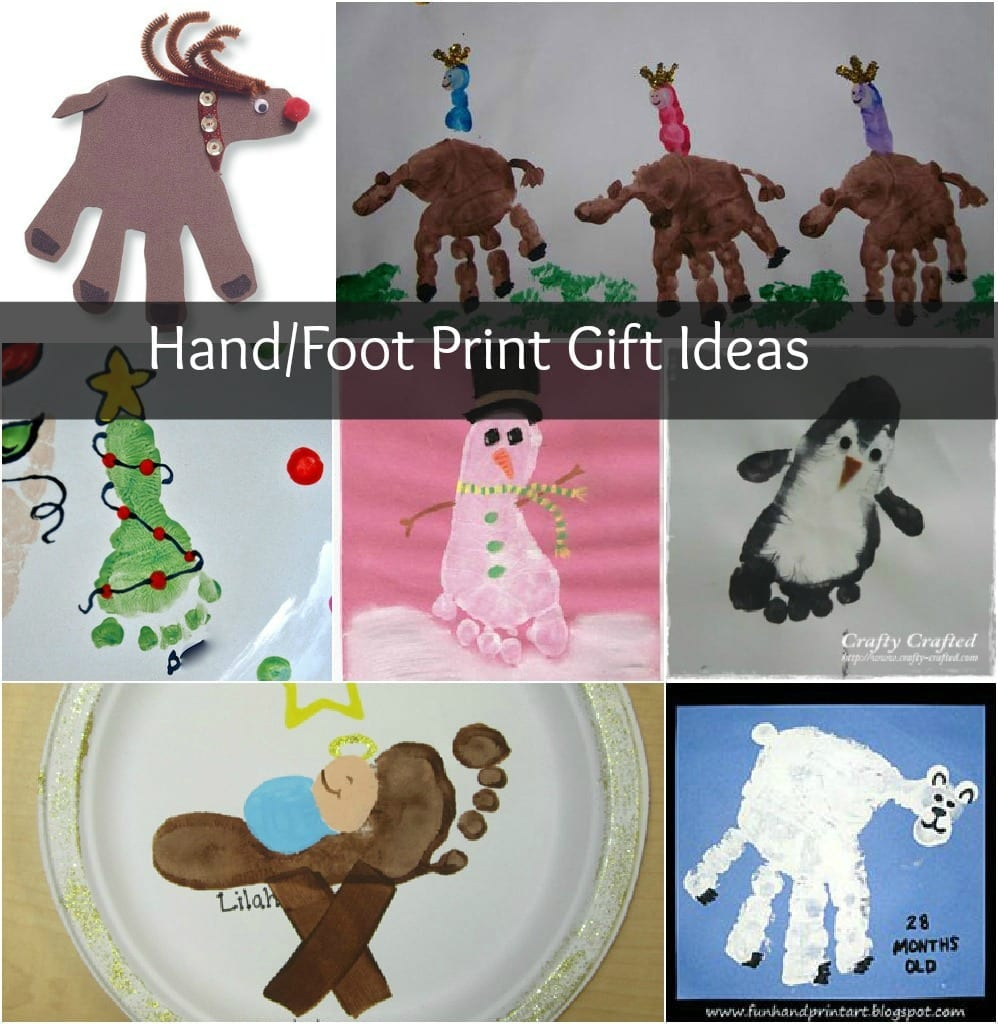 Christmas crafts hand and foot print homemade gifts for Hand and foot crafts