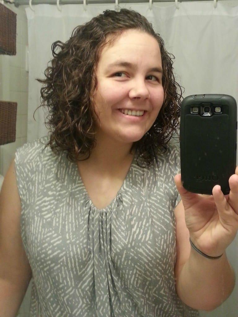 half back curly hair