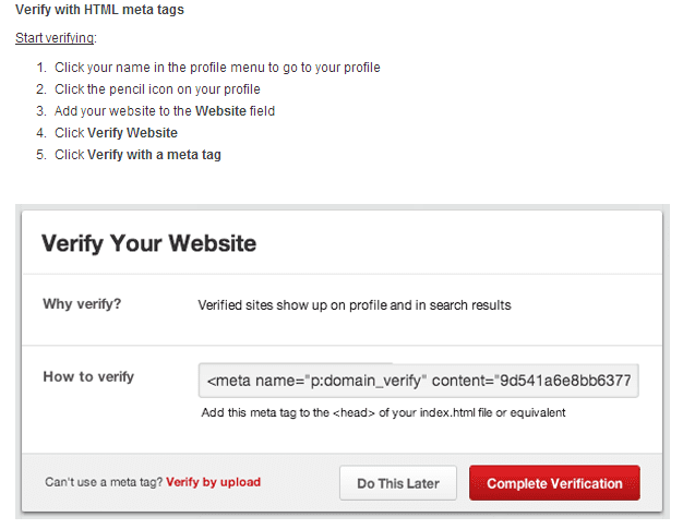 how to verify your webiste on pinterest