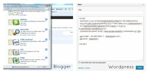 how to set up google analytics on blogger and wordpress