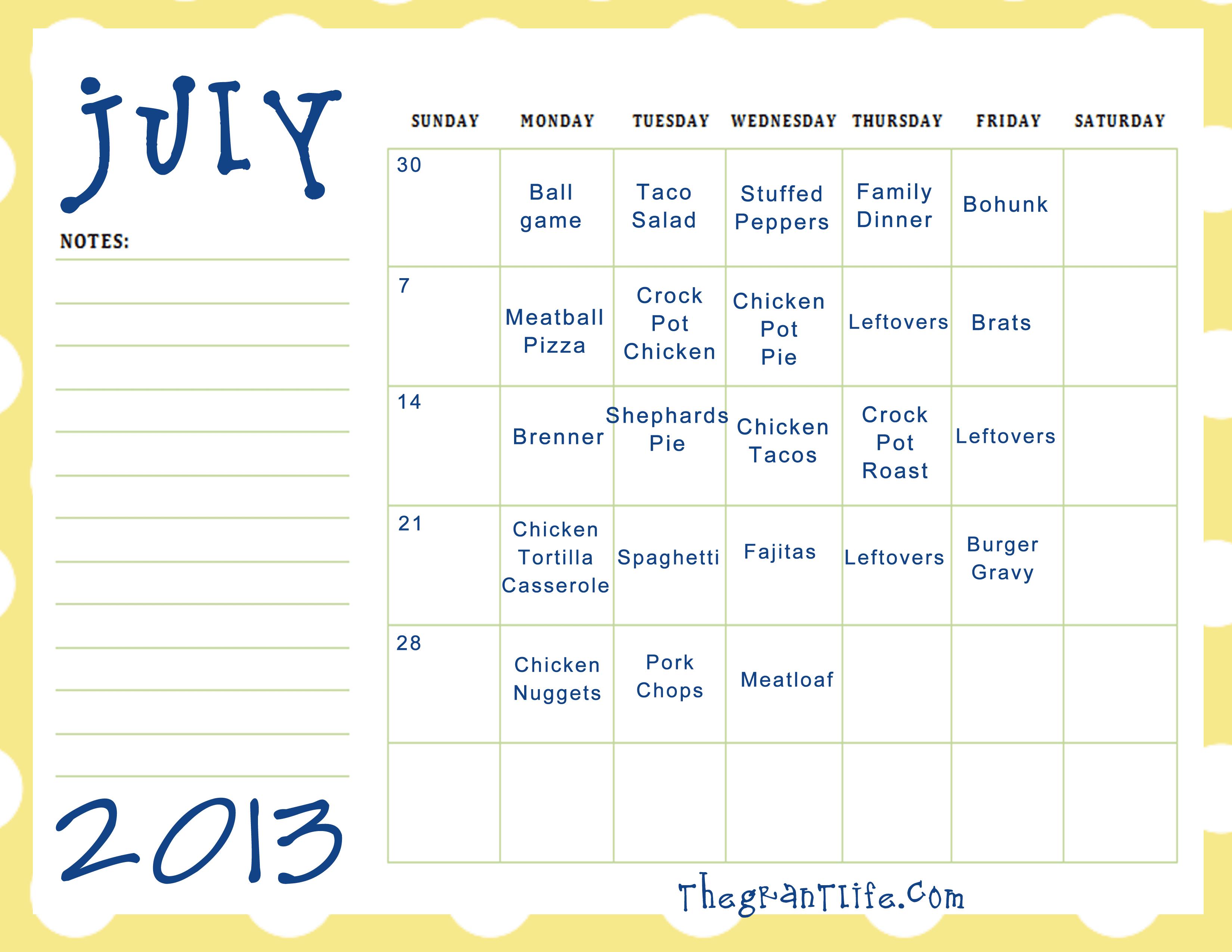 July 2013 Meal Plan + Printable