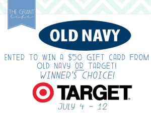 Enter to win a $50 Gift card to target OR old navy!