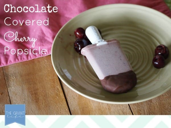Easy and healthy chocolate covered cherry popsicle.  Great after #school snack!