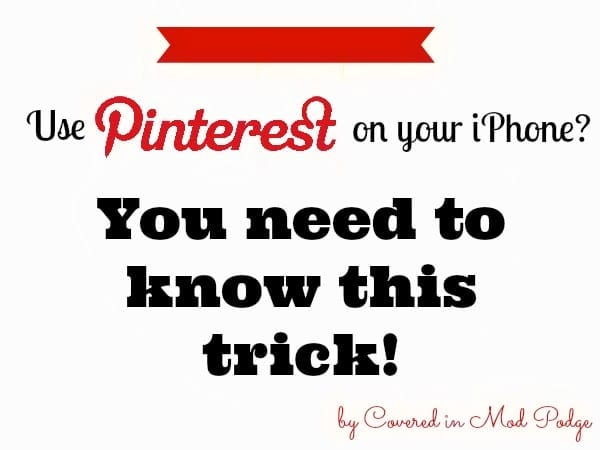 Blogging Tips: Pinterest Tip for iPhone Users