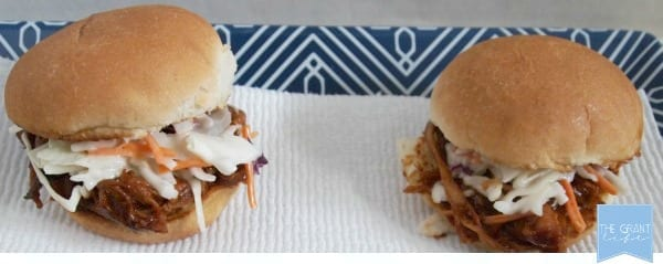 Perfect for football!  Easy crockpot pulled pork sliders