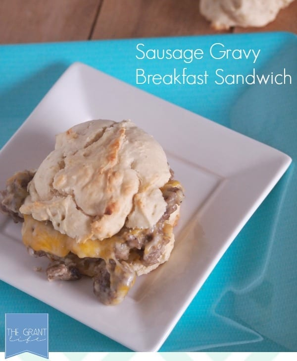 Sausage Gravy Breakfast Sandwich via thegrantlife.com.  SO easy!