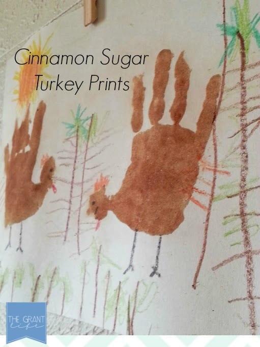 Cinnamon Sugar Turkey Hand Print Art - super easy and great for Thanksgiving!