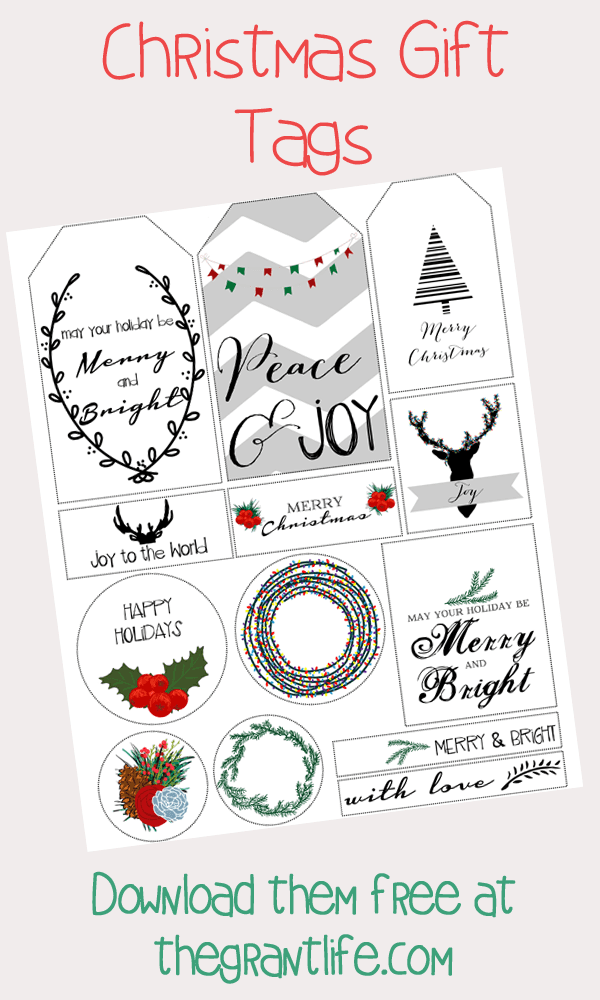 FREE Christmas gift tags!  Download them at thegrantlife