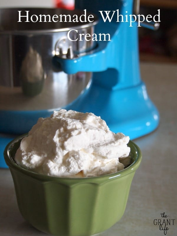 Homemade whipped cream. Two ingredients and oh so easy!