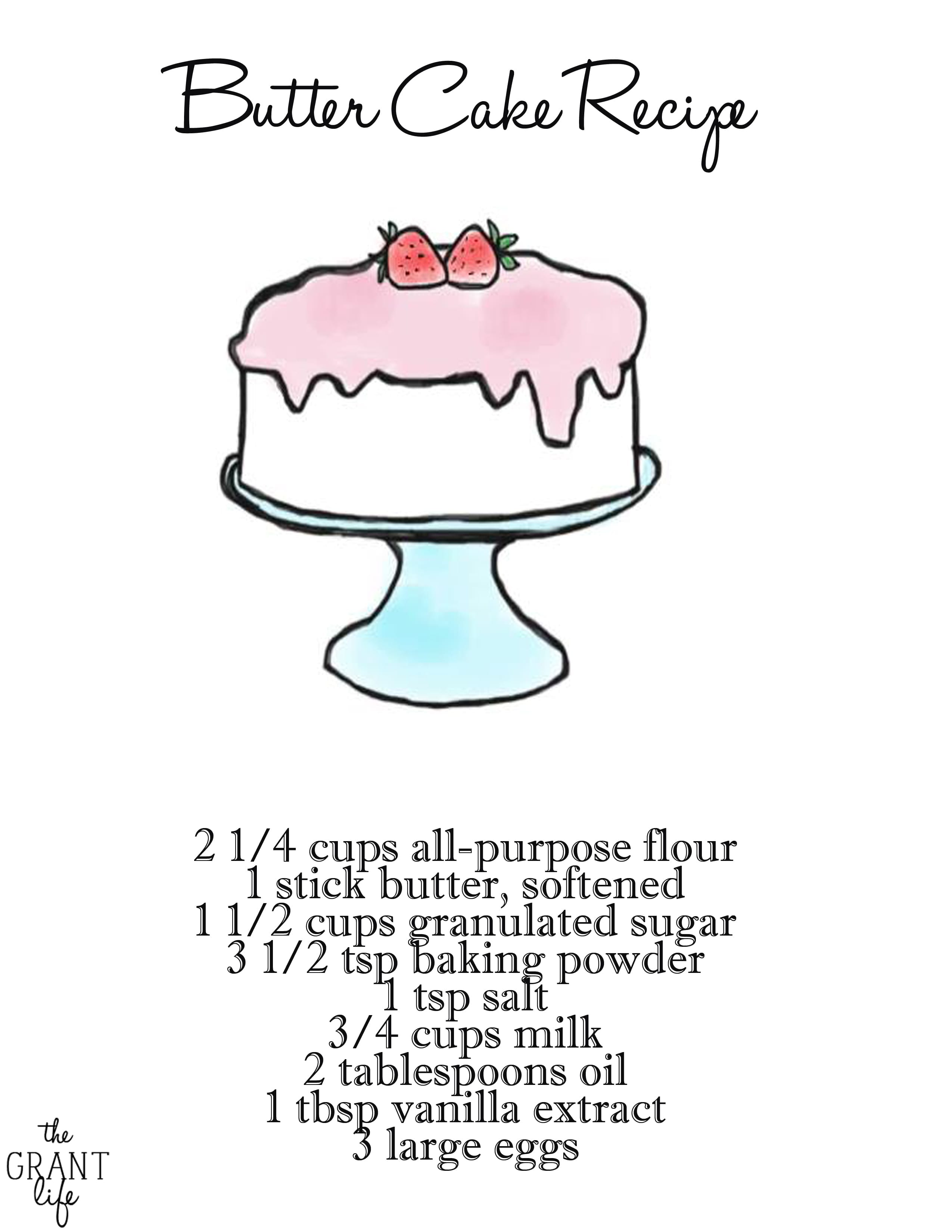 Basic Cake Recipe with Printable