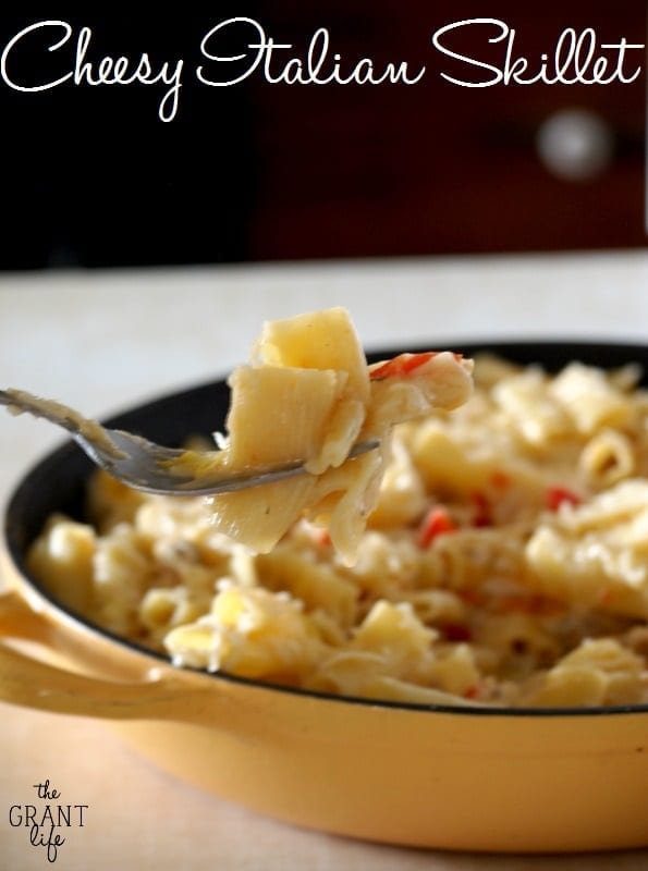 Cheesy Italian Skilet Meal - Everything cooks in one pan!