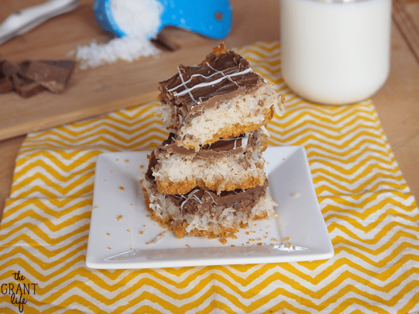 Chocolate covered coconut macaroon bars