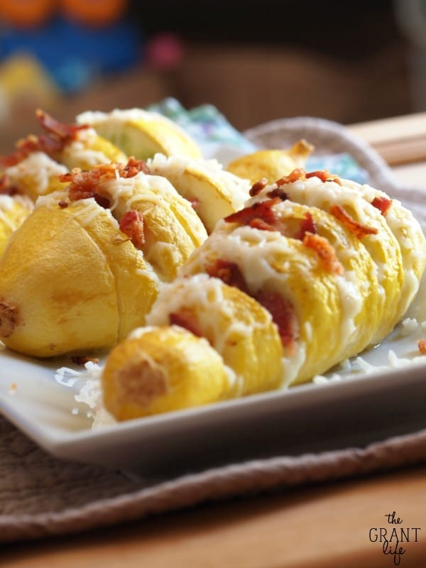 Easy hassleback squash with cheese and bacon