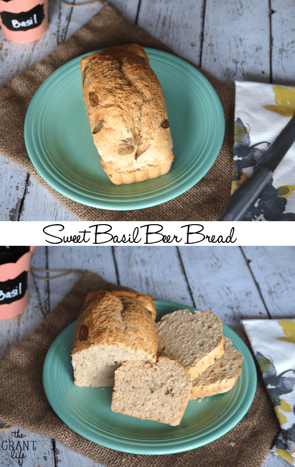 Easy to make, sweet basil beer bread is sure to be a hit!