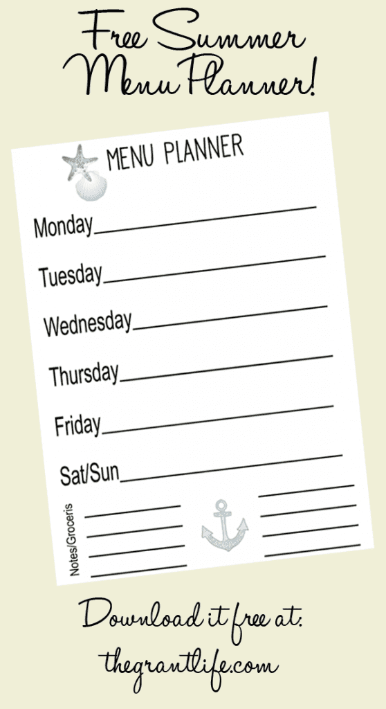 Free summer menu planner - download it at thegrantlife