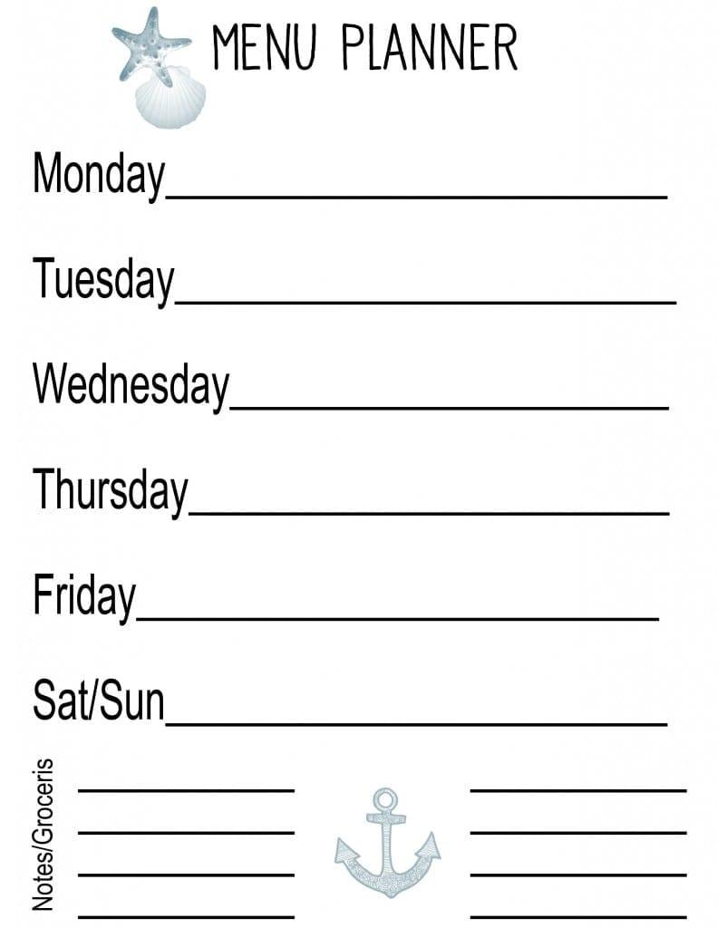 Summer menu planner