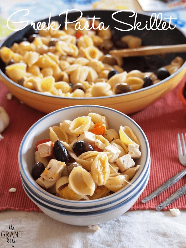 Greek pasta skillet - one pan, 20 minute meal!