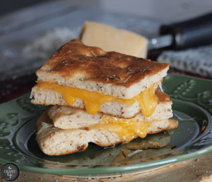 Cheddar and Parmesan Focaccia Grilled Cheese