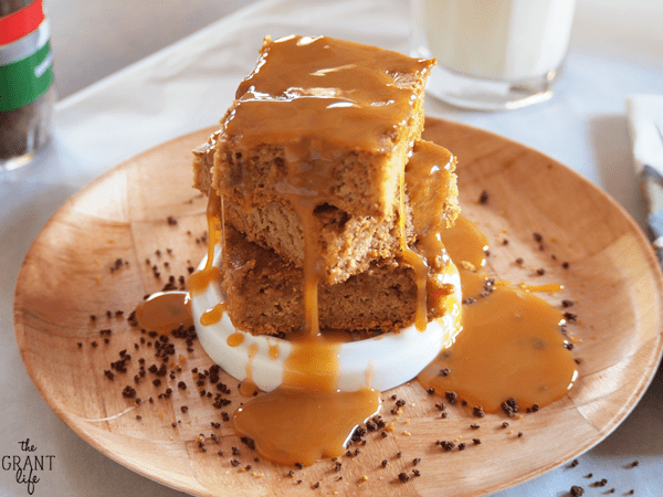 Delicious and chewy - caramel macchiato blondie bars