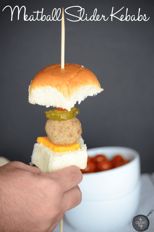 Meatball slider kebabs!  Perfect for football games, family gatherings, or a fun dinner!