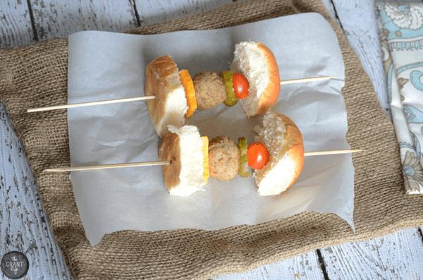Meatball slider kebabs - perfect football food!