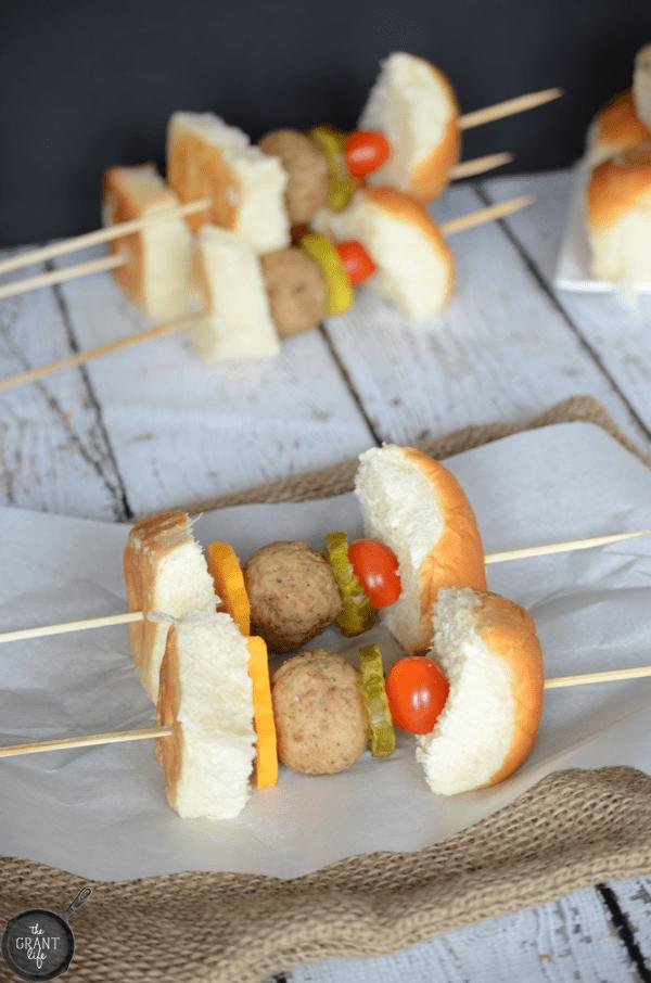 Meatball slider kebabs!