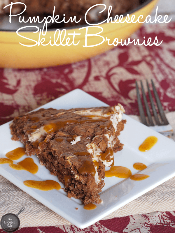 Pumpkin Cheesecake Skillet Brownies