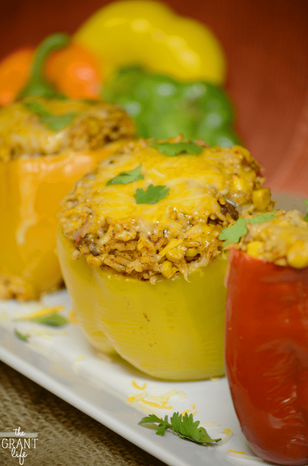 Easy southwest crockpot stuffed peppers