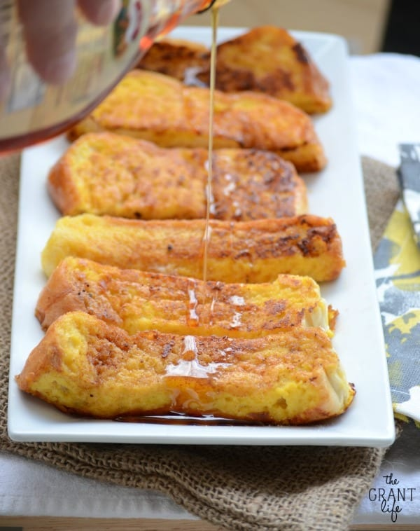 Eggnog french toast sticks!  Perfect for the holidays.