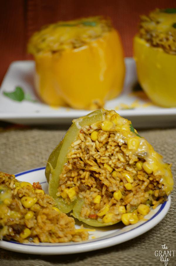 Southwest crock pot stuffed peppers