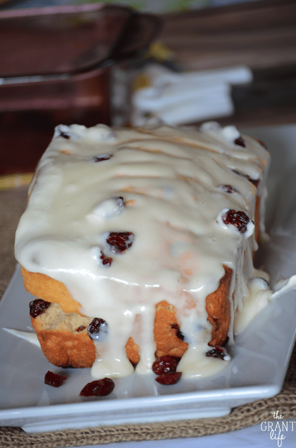 Cranberry orange beer bread - a super easy quick bread that is covered in cream cheese frosting