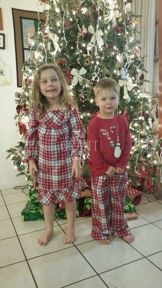 kids in christmas jammies