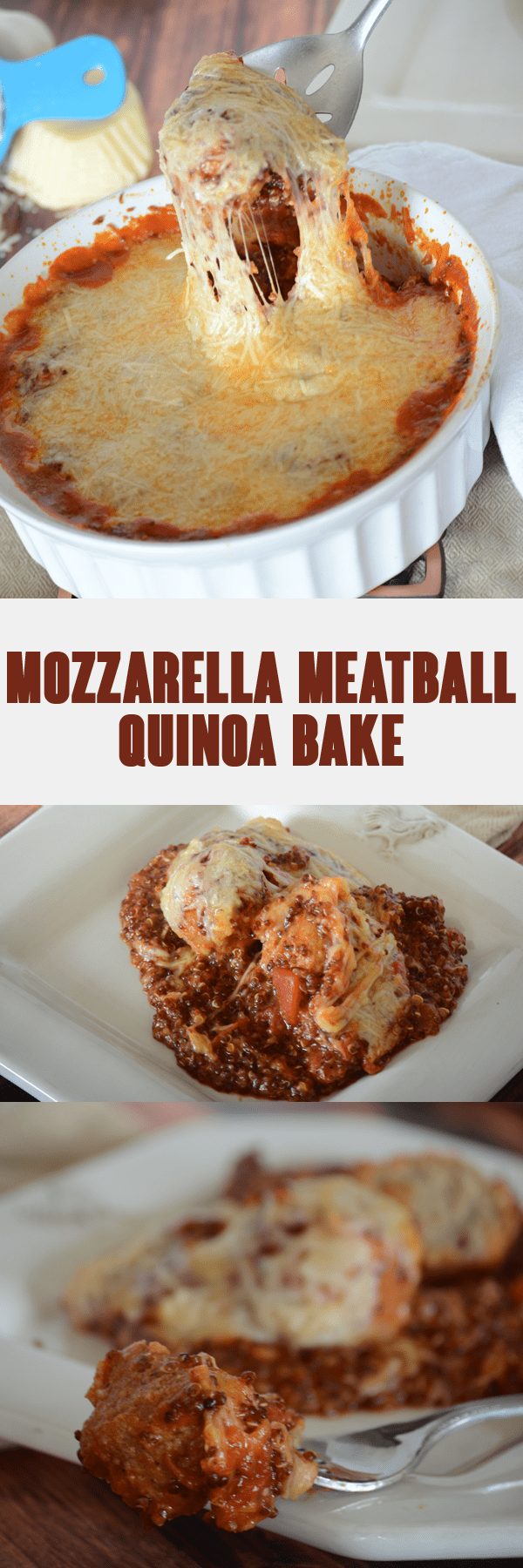 Easy and healthy recipe alert!  This mozarella meatball quinoa bake is so easy to put together and full of flavor that no one will belive its good for you!