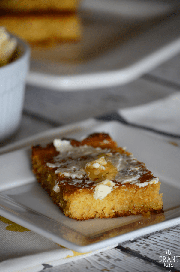 Homemade honey butter on top of honey skillet cornbread - nothing better!