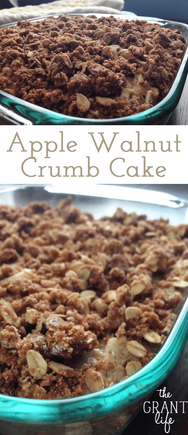 This apple walnut crumb cake is easy to make and full of flavor!  Its also perfect for breakfast and or a dessert!  Also vegan!