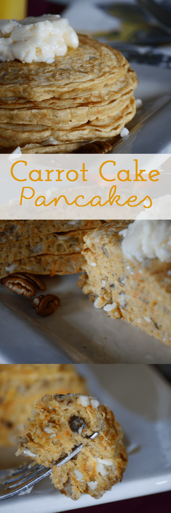 Delicious carrot cake pancakes make with white chocolate chips, walnuts and raisins! Oh and topped with cream cheese frosting!  Frosting on pancakes!