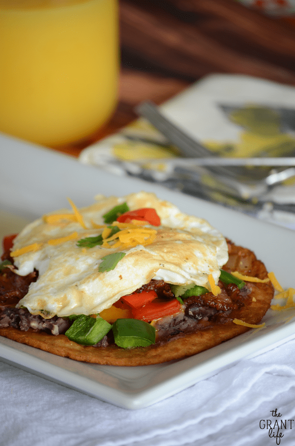 Loaded breakfast tostadas!  Bacon, eggs, jalepnos and so much more!
