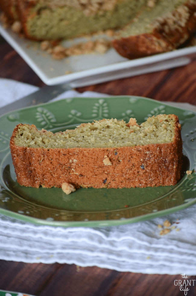 Zucchini bread with crumb topping!  Thick and moist, this zucchini bread is perfect for breakfast or snacking
