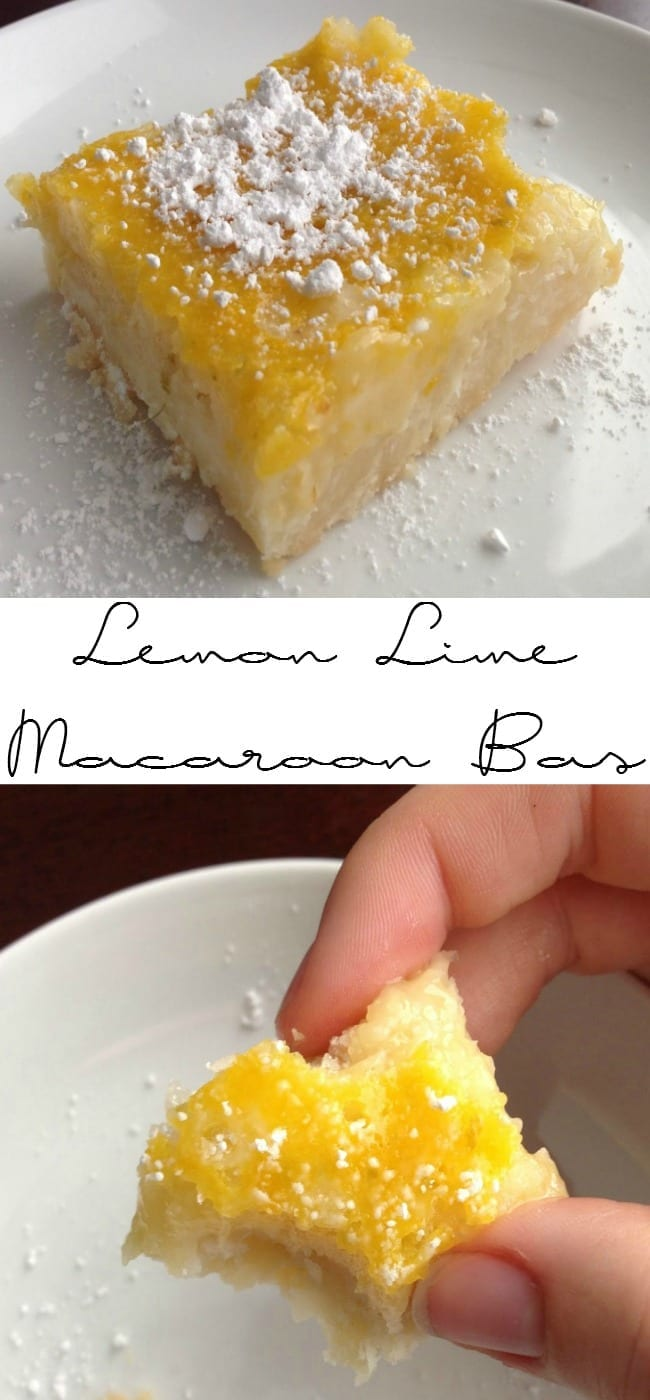 Check out these easy to make lemon lime macaroon bars!  Citrus plus coconut is just perfect.  Great for brunch, breakfast, or a snack!