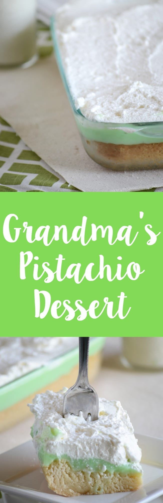 Grandma's pistachio dessert!  Cookie crust, pistachio and homemade whipped cream!  Nothing better