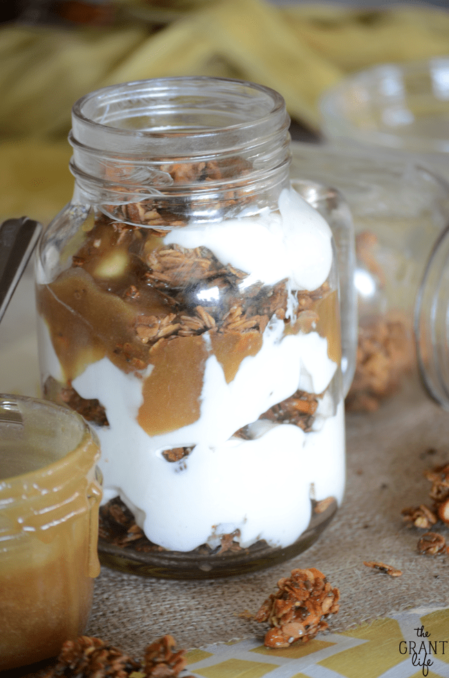 Homemade salted caramel parfaits!  So easy and great for breakfast or dessert!