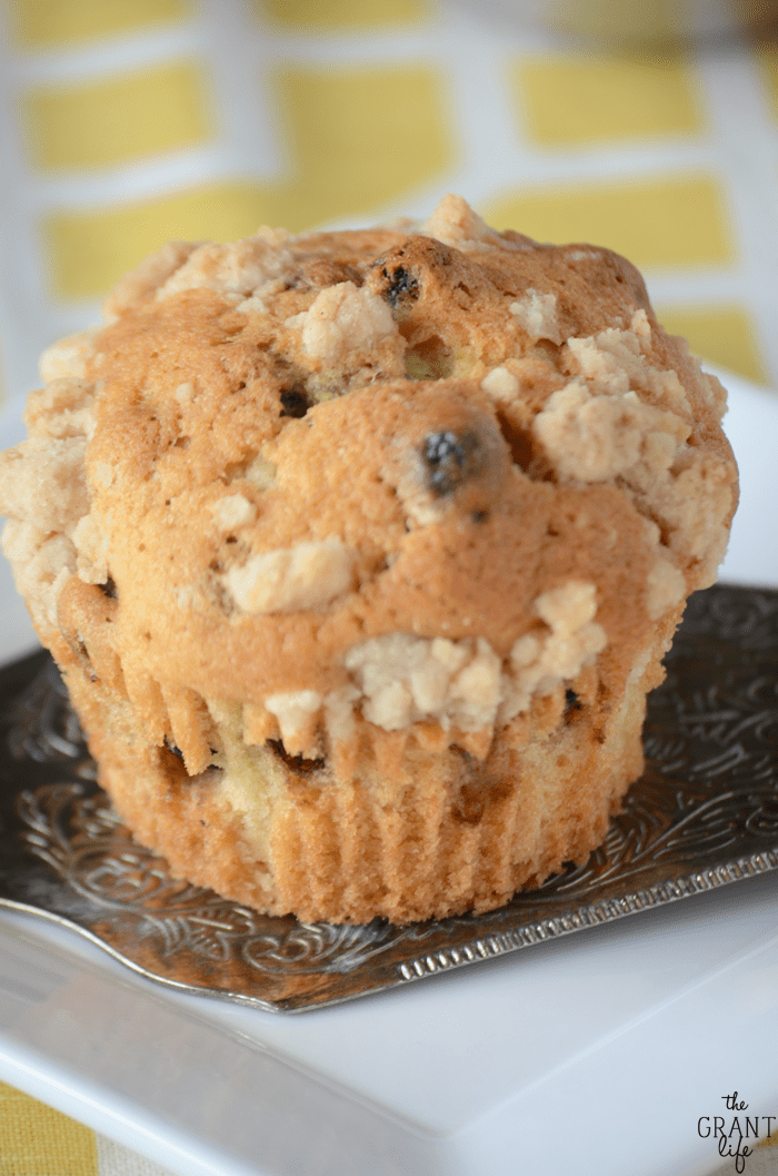 Delicious bakery style blueberry muffins with cinnamo crumble!