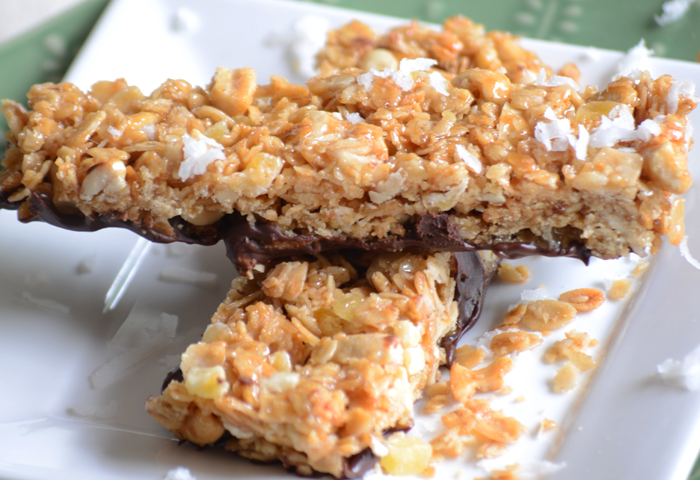 Homemade tropical granola bars!  Perfect for quick snacks for the whole family!