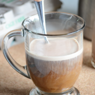 Make your own Mounds coffee creamer!  A few ingredients and you are all set to have this yummy creamer for coffee!