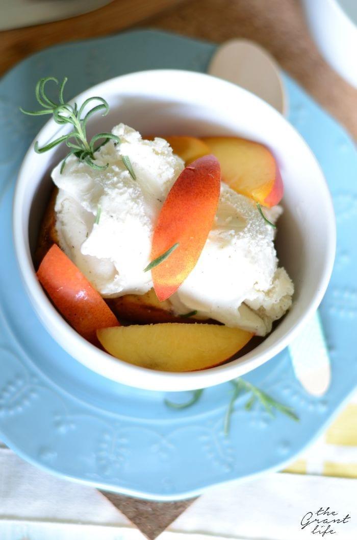 Grilled pound cake and nectarine dessert
