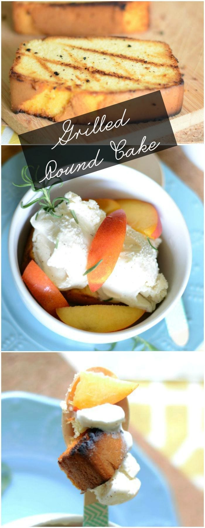 Grilled pound cake and nectarines dessert.  Add some rosemary and vanilla bean ice cream and it's perfect!  It's delicious