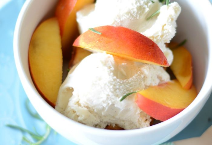 Perfect summer dessert!  Grilled pound cake and nectarines with rosemary and vanilla bean ice cream
