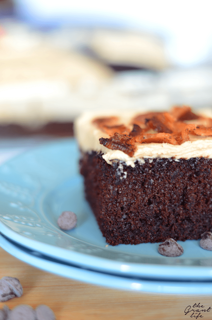 Bacon on top of a chocolate cake with peanut butter frosting!  It's like a dream come true
