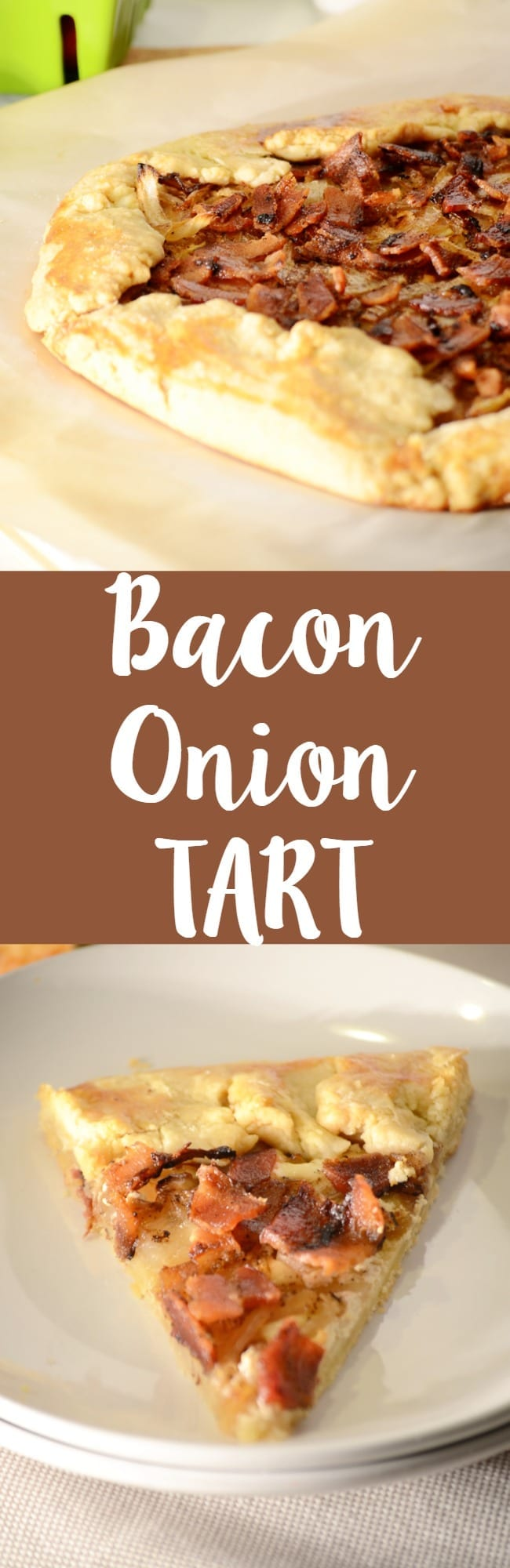 Delicious bacon onion tart recipe!  Homemade tart crust is packed full of crispy bacon and caramelized onion!